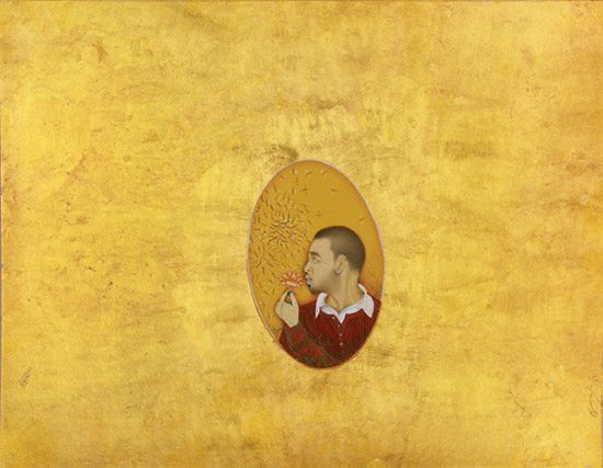 Imran Qureshi self portrait, Indian style miniature with gold leaf