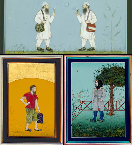 Imran Qureshi three Indian style painted miniatures