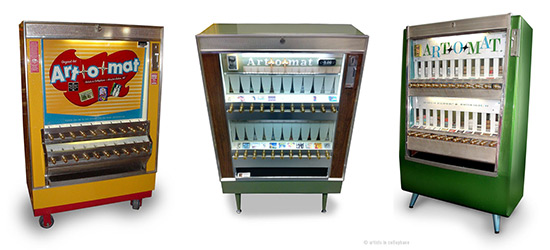 Three cigarette vending machines converted to sell art