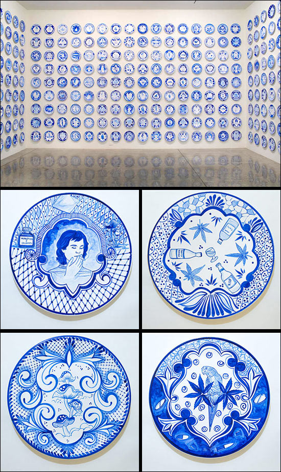 Eduardo Sarabia art installation with hand painted ceramic plates