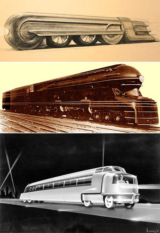 Raymond Loewy designs for Greyhound bus and locomotive