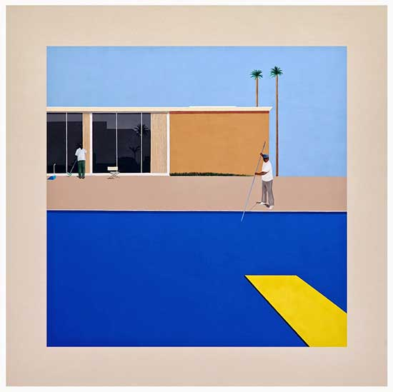 Ramiro Gomez painting, No Splash, based on Hockney's Bigger Splash