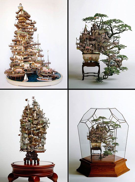 Bonsai treehouse sculptures by Takanori Aiba