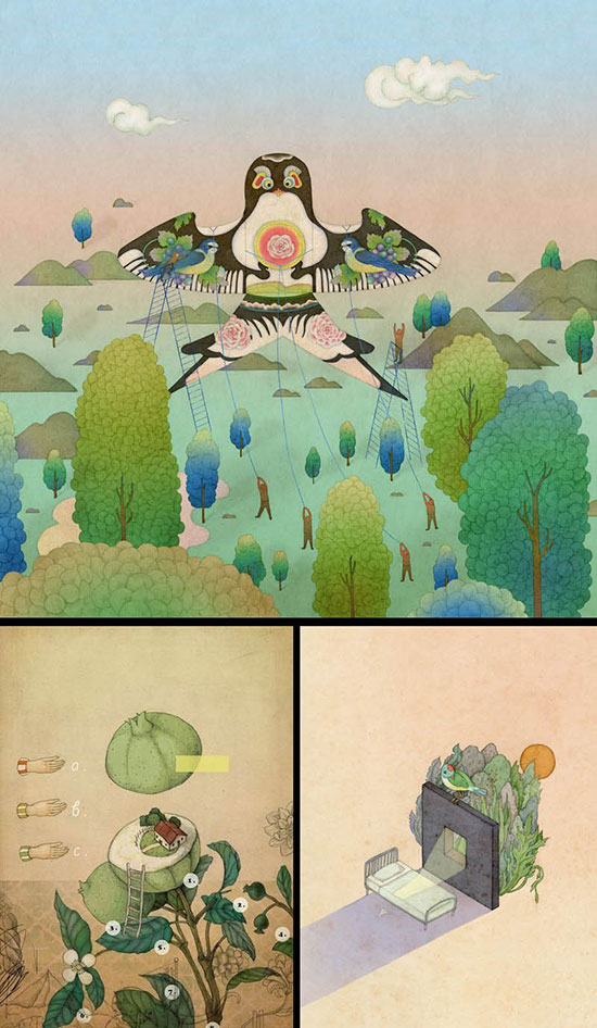 three illustrations by Whooli Chen of imaginary places