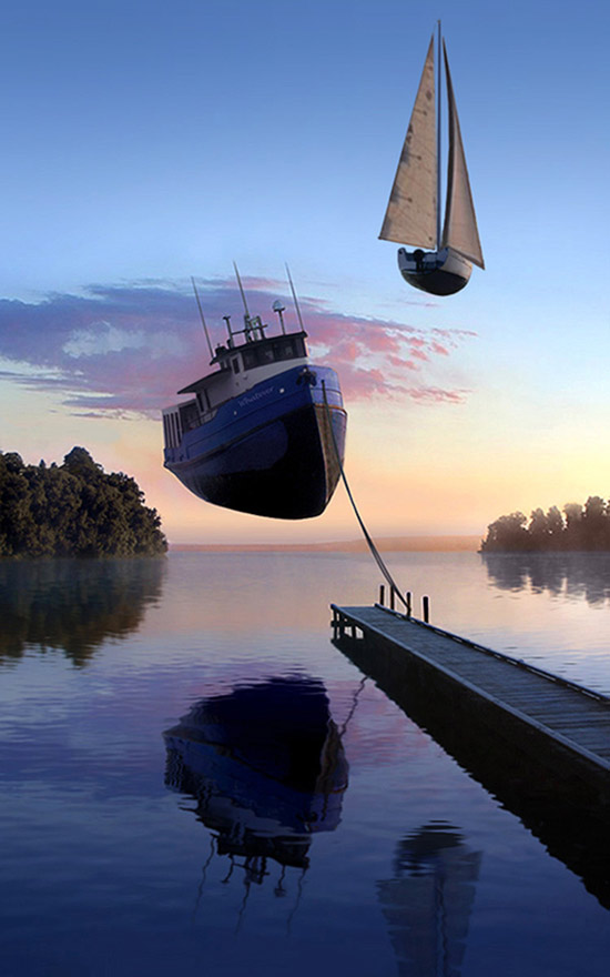manipulated photograph of boats floating in the air