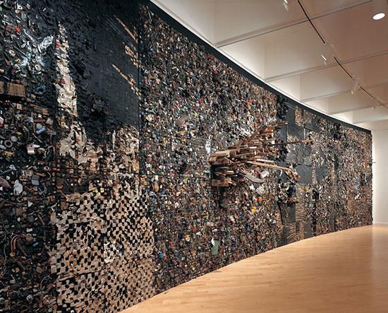 Large wall art installation by Leonardo Drew