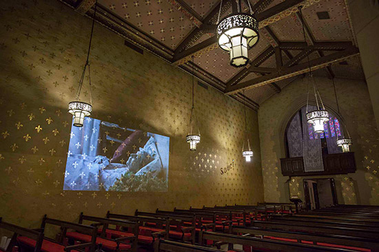 Sophie Calle art installation at Fort Mason in a chapel