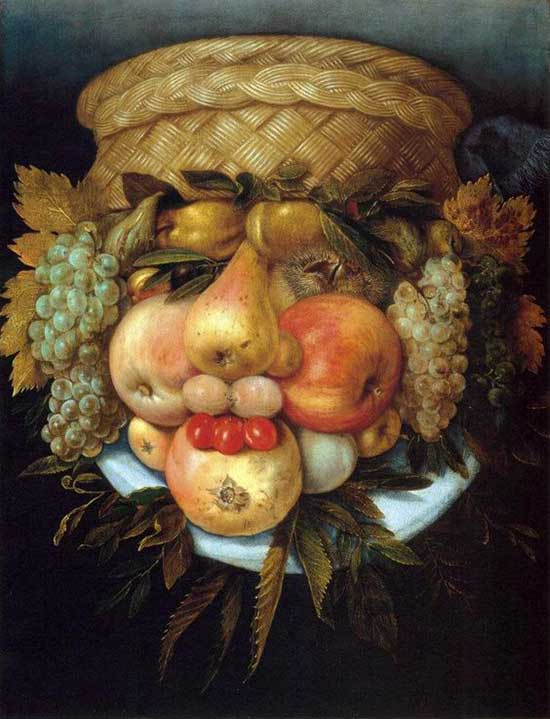 Portrait painting using fruit images by Giuseppe Arcimboldo