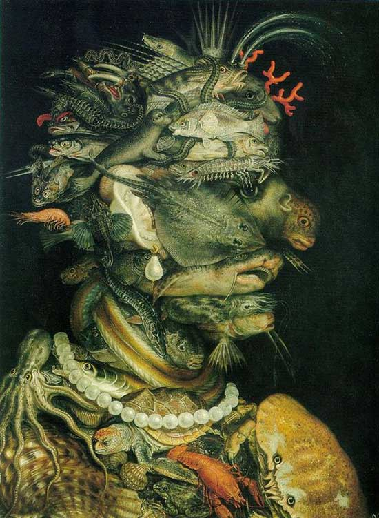 Portrait painting using sealife images by Giuseppe Arcimboldo