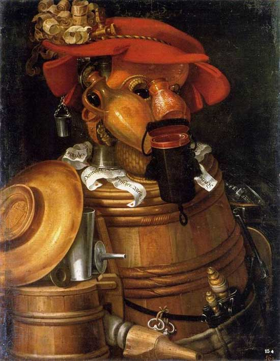 Portrait painting using images of barrels and containers by Giuseppe Arcimboldo