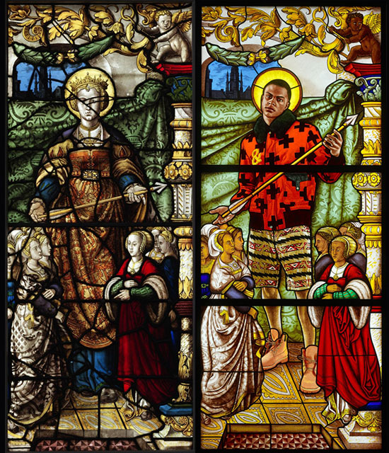 stained glass by Kehinde Wiley