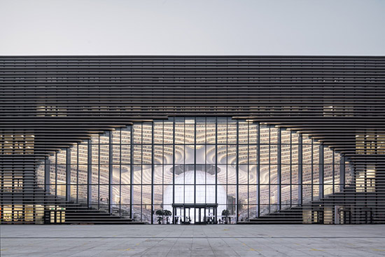 exterior view of the Tianjin Binhai Library in China