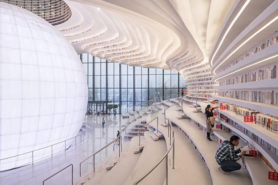 interior view of the Tianjin Binhai Library in China