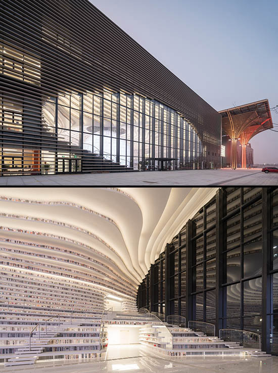 interior and exterior views of the Tianjin Binhai Library in China
