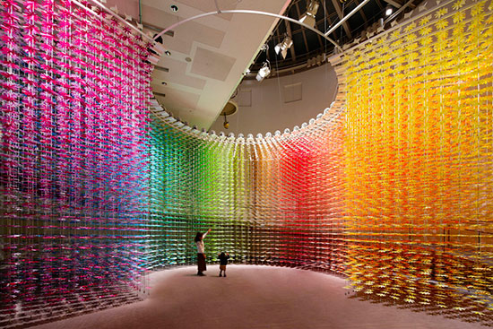 Rainbow interior installation by architect Emmanuelle Moureaux