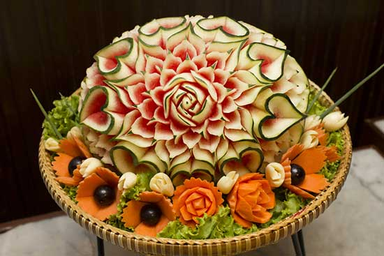 elaborately carved produce
