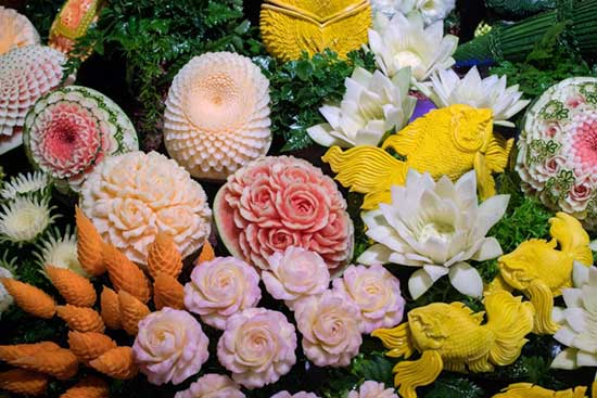 fruit carved to look like flowers