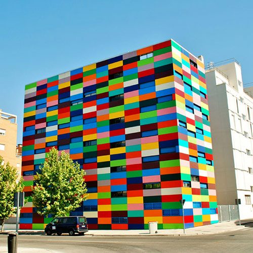 building exterior made from colorful lego-like blocks