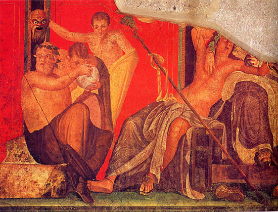 red pigments in a mural at Pompeii