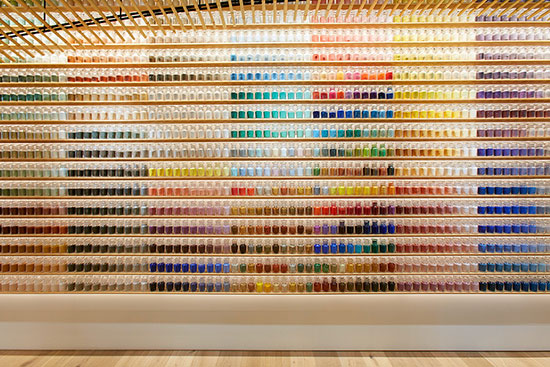 thousands of paint samples in Japanese store