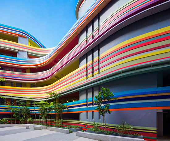 building exterior with colored stripes