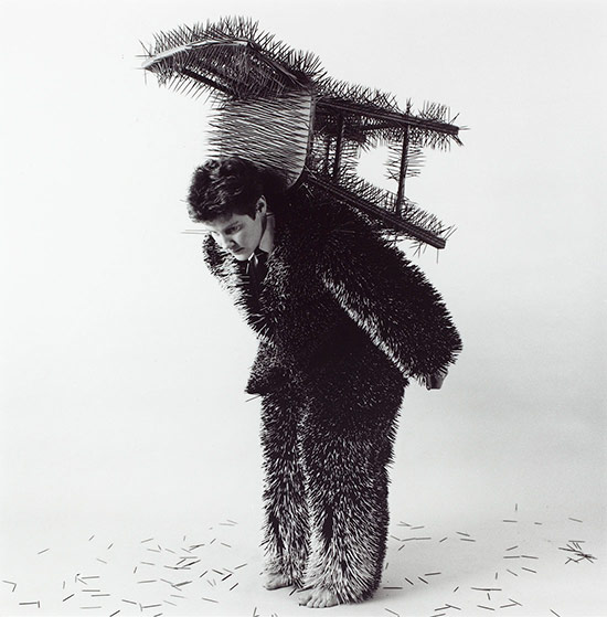 Ann Hamilton performance in toothpick suit