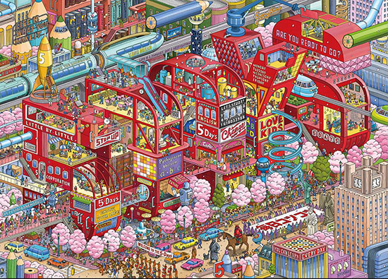 IC4Design colored print of a cityscape made of candy, pencils, and toys with cotton candy trees
