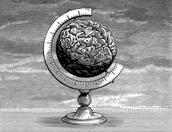 Istvan Orosz print of globe with the surface of a brain