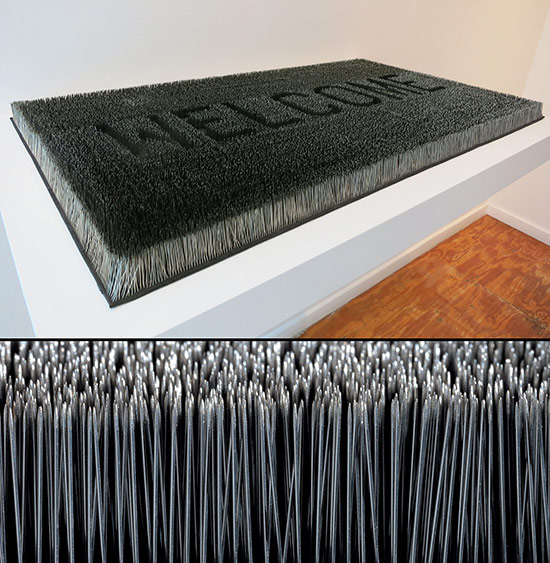Mona Hatoum welcome mat made of straight pins