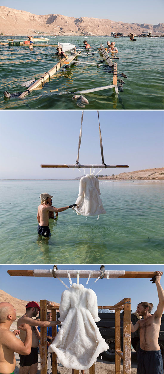 Sigalit Landau process of creating salt encrusted objects in the Dead Sea