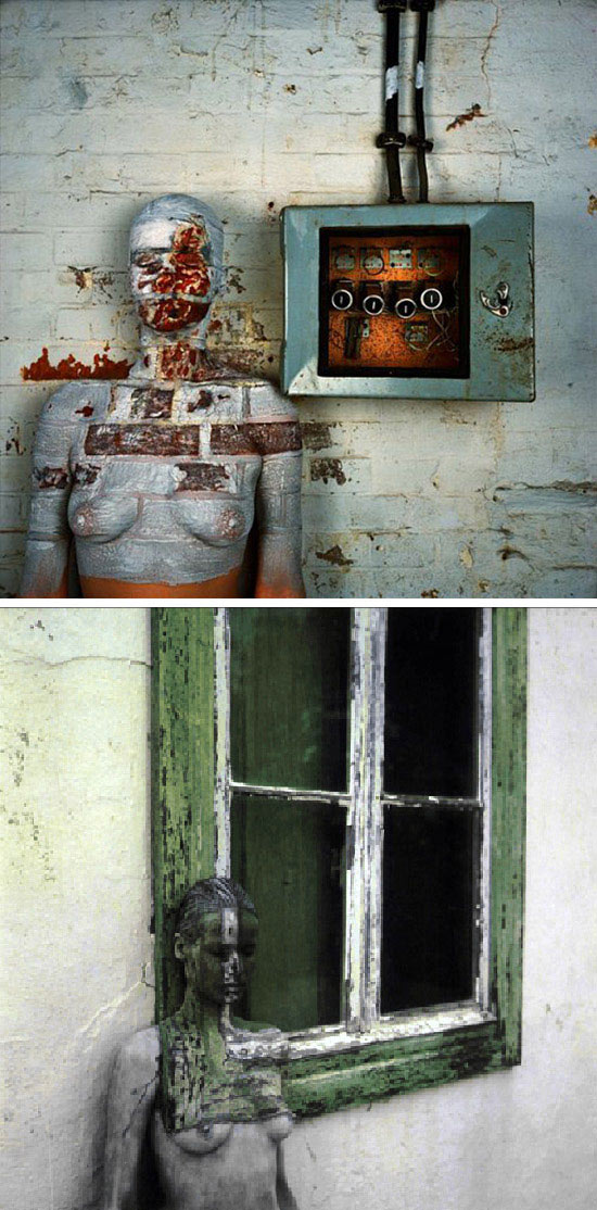 Vera Lehndorff trompe-l'oeil body painted to blend into decaying building