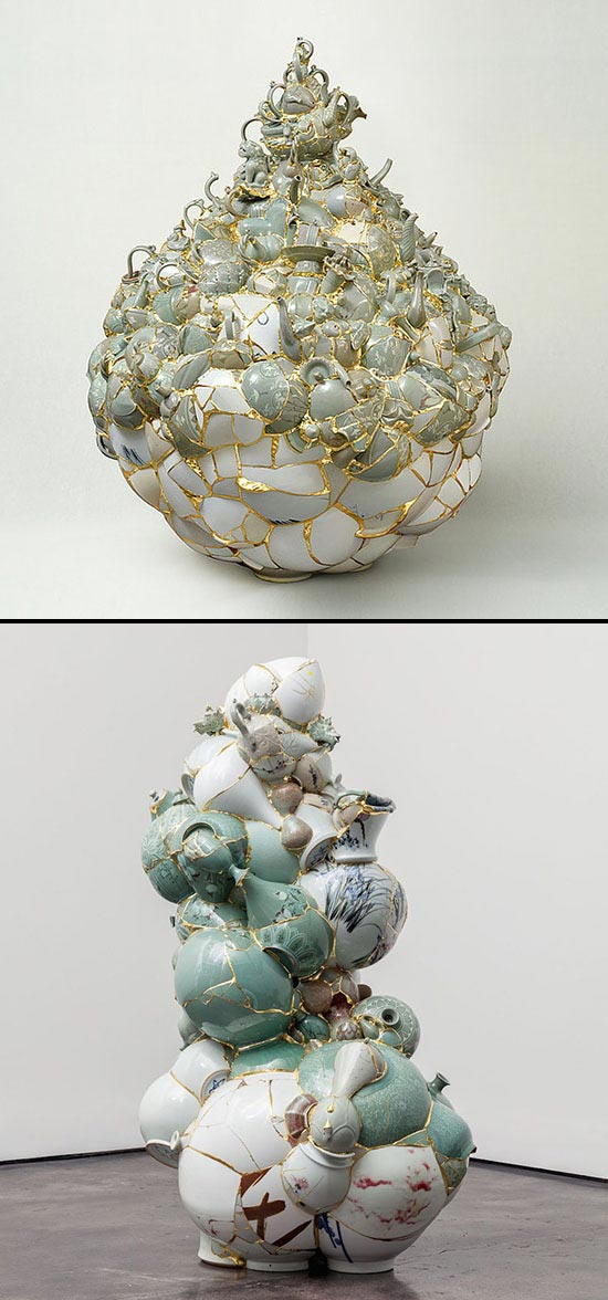 Yeesookyung Translated Vases of ceramic and gold joinery