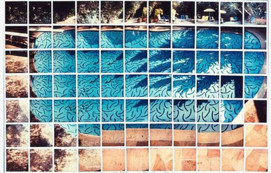 Grid artwork of swimming pool by David Hockney