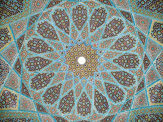 Elaborate mosaic roof of Hafez tomb