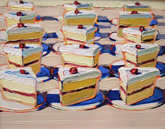 Wayne Thiebaud oil painting of pastries
