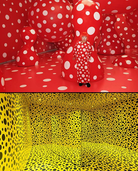 Yayoi Kusama two art installations with dots