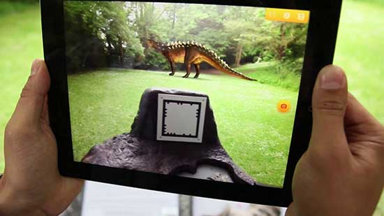 augmented reality with a dinosaur