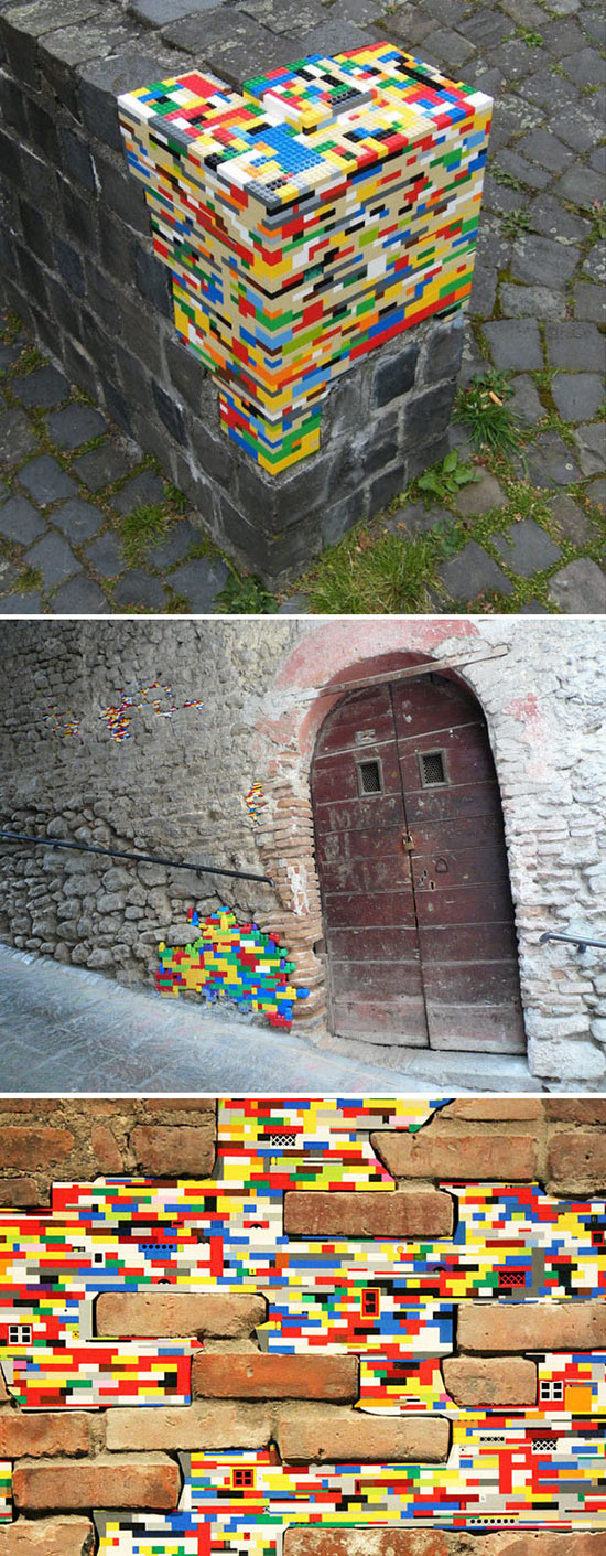 Jan Vormann repair of old stone walls with plastic lego blocks