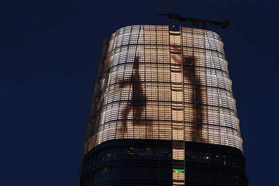 Jim Campbell video installation atop Salesforce Tower