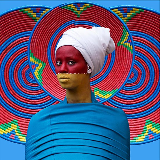 Aida Muluneh photographic portrait with basket imagery